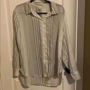 Max Studio white and grey striped button up shirt